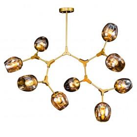 Pendente Moderno Dourado com Cúpula de Vidro 9 Lâmpadas Kryp