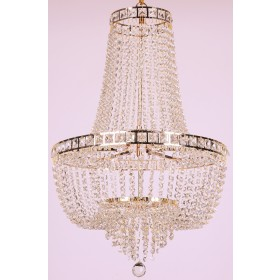 Lustre de Cristal Imperial 23 Lâmpadas Dourado FG Elizabeth