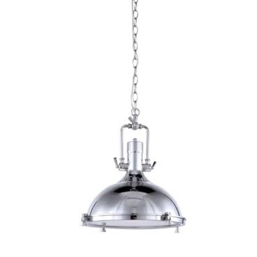 Pendente Kitchen Metal Cromado e Vidrio Fosco 1 Lâmpada +Luz Iluminação