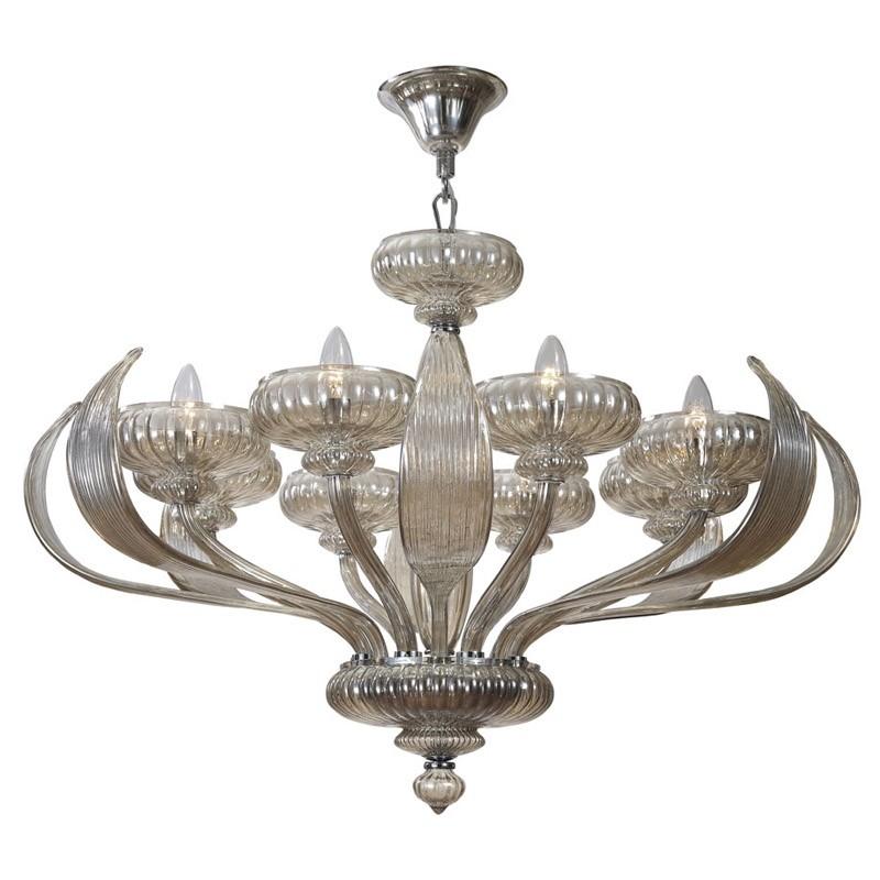 Lustre Marchella com Estrutura de Metal Cromado e Vidro Soprado Conhac com 8 Braços - Pier