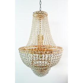 Lustre de Cristal 12 Lâmpadas Dourado FG Elizabeth