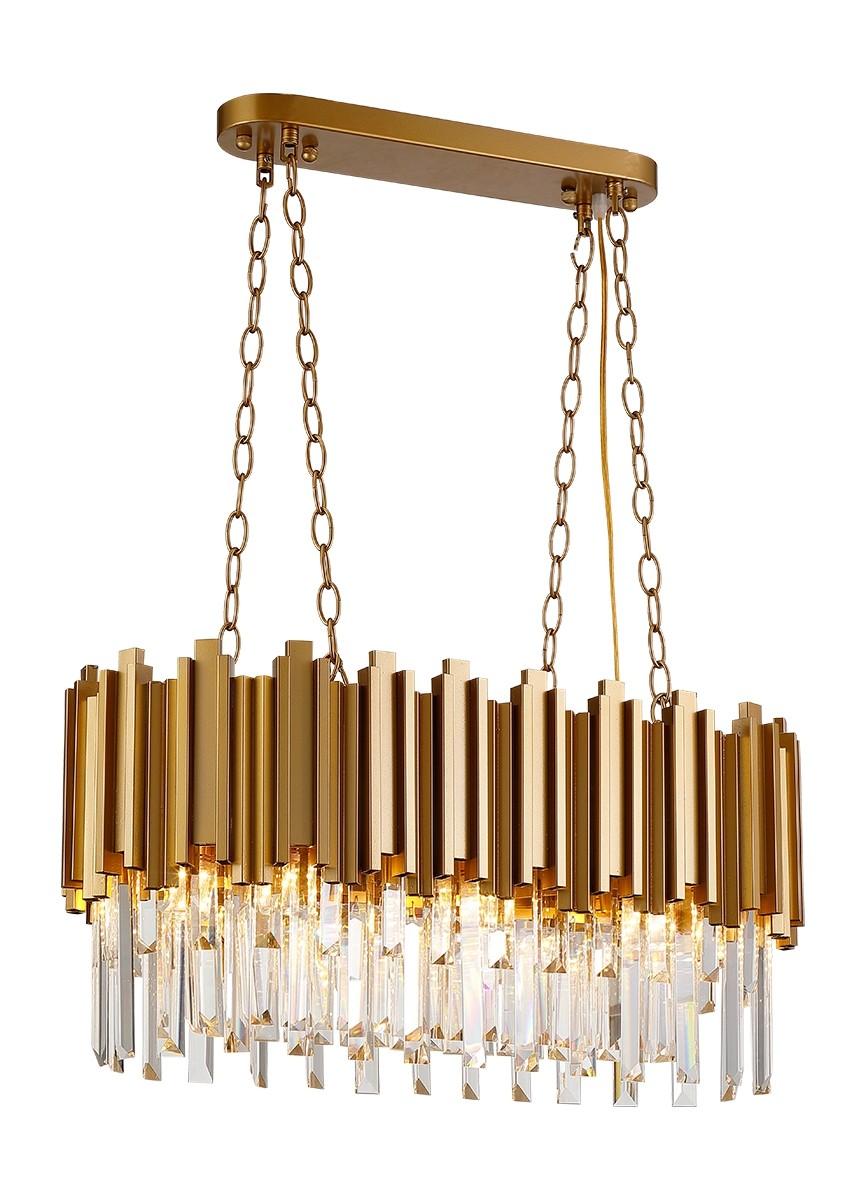 Pendente Moderno de Cristal com Estrutura Dourada 12 Lâmpadas DO