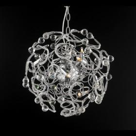 Pendente de Aço Cromado de Cristal 9 Lâmpadas +Luz Iluminação