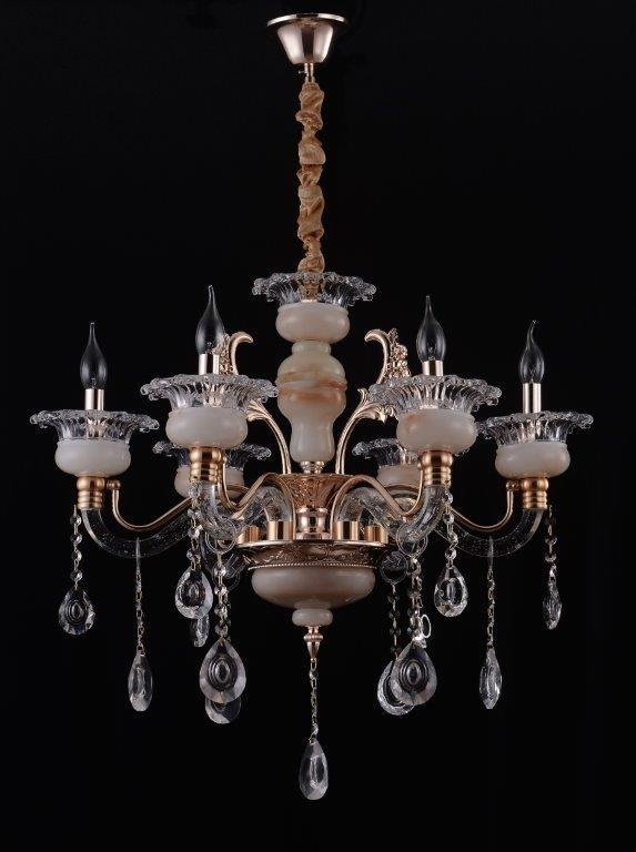 Lustre Candelabro Bureal Bloom com Estrutura de Metal Dourado Braços e Bobeche em Led e Cristais Transparente 6 Braços -Tupiara