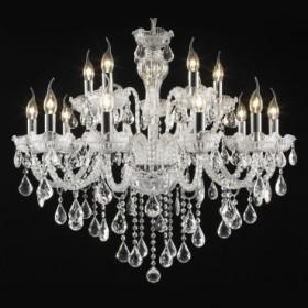 Lustre Candelabro de Cristal Transparente Estilo Maria Thereza 15 Lâmpadas +Luz Iluminação
