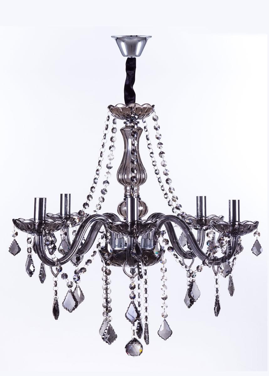 Lustre de Cristal Maria Thereza Fumê 5 Lâmpadas