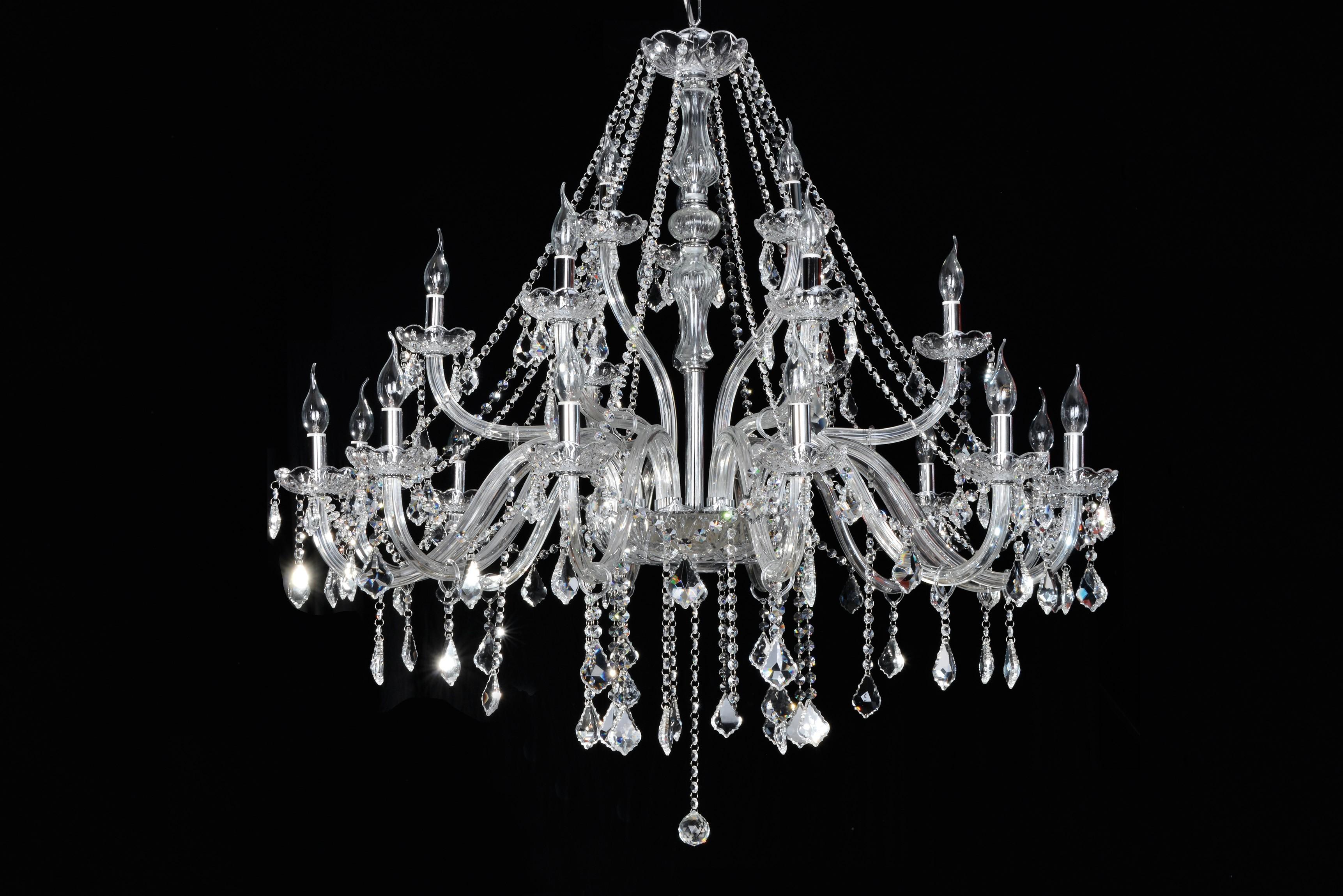Lustre de Cristal Maria Thereza Transparente 21 Lâmpadas