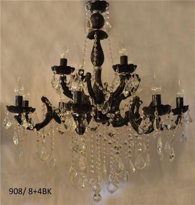 Lustre de Cristal Transparente com Braços de Acrílico Preto 12 Lâmpadas - Frontier