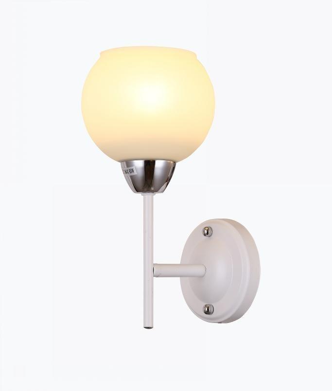 Arandela Metal Vidro Branco Cromado 1 Lâmpada - Sindora