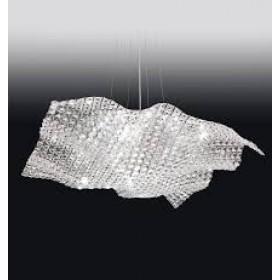 Pendente Arraia Moderno de Cristal Transparente Estrutura Quadrada Cromada 7 Lâmpadas - Old Artisan