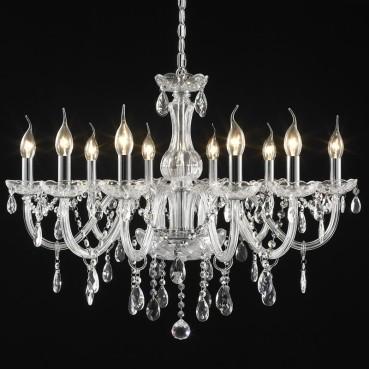 Lustre Candelabro Maria Thereza Cristal Transparente 10 Lâmpadas +Luz Iluminação