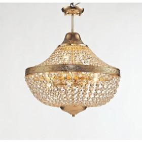 Lustre Royal Metal Dourado com Cristais Transparente 11 Braços - Tupiara