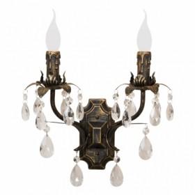 Arandela de Cristal 2 Lampada com Estrutura em Metal Preto com Dourado Livorno - Sigma Lux