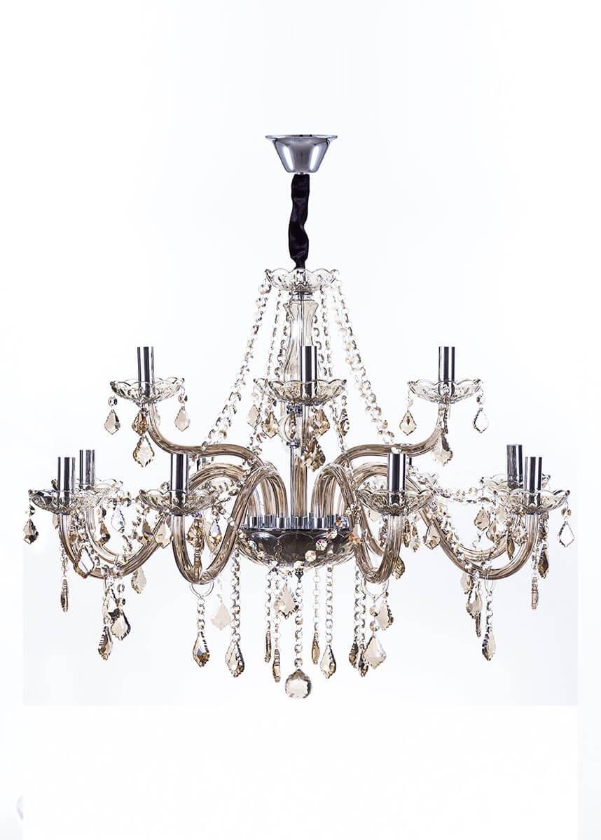 Lustre de cristal Maria Thereza champagne 12 lâmpadas