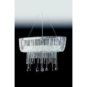 Pendente Moderno Cristal Transparente Estrutura Oval Cromada 11 Lâmpadas - Old Artisan
