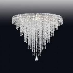 Plafon de Cristal Transparente e estrutura Redonda de Aço Cromado 18 Lâmpadas - Old Artisan
