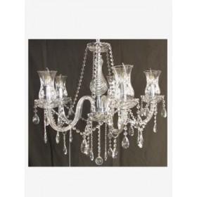 Lustre de Cristal com Braço de Acrílico Transparente 5 Lâmpadas - Frontier