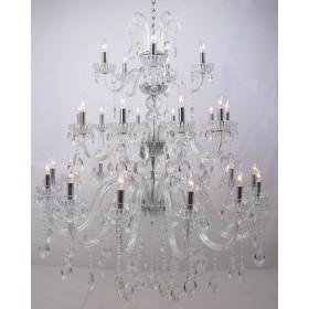 Lustre Taj Mahal Vidro Transparente com Cristais Transparentes 29 Braços -Tupiara