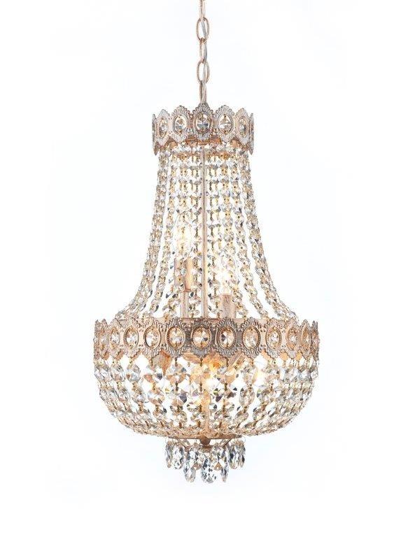 Lustre Imperial Com Estrutura Branca em Ouro Jateado e Cristais Transparentes 5 Lâmpadas Queen - Tupiara