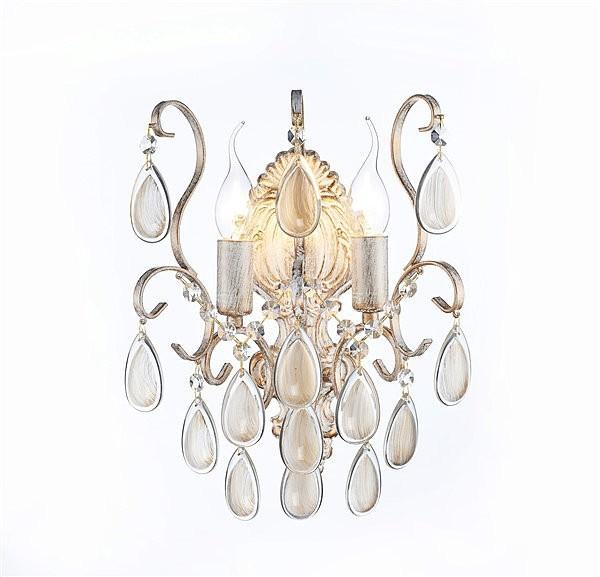 Arandela Bemmel Blend Metal Branco com Ouro Jeteado com Cristais Dourados 2 Lampadas -Tupiara