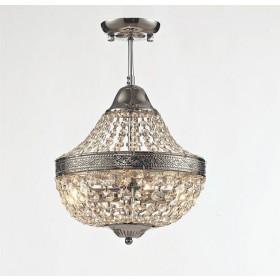 Lustre Royal Metal Cromado com Cristais Transparentes 4 Braços - Tupiara