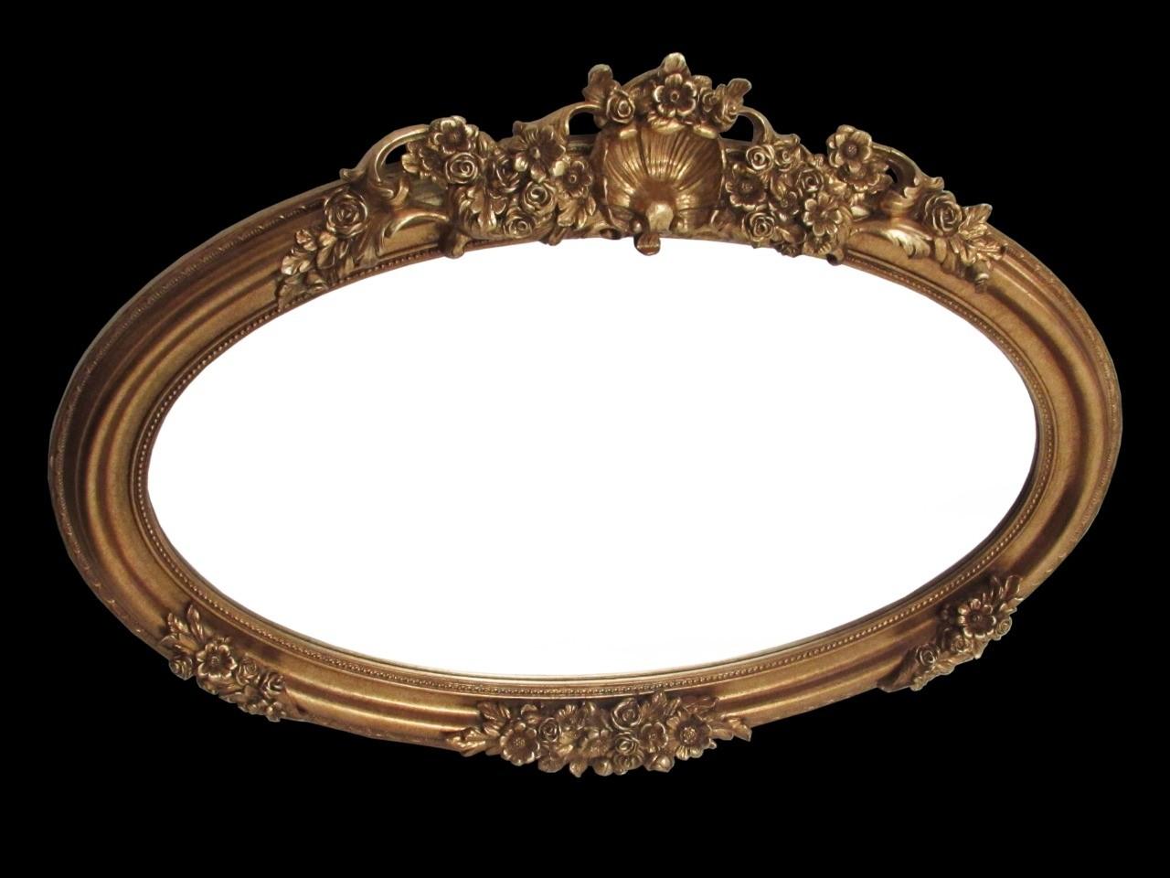 Espelho Oval Com Moldura de Flor marrom- Frontier