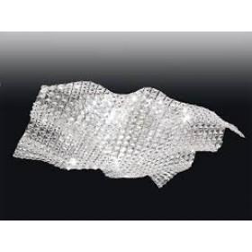 Plafon Arraia Moderno de Cristal Transparente e estrutura Quadrada de Aço Cromado 7 Lâmpadas - Old Artisan