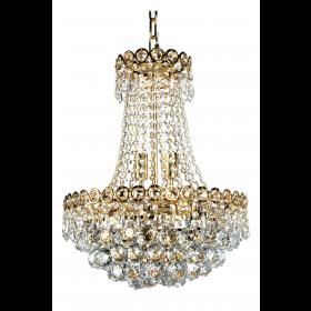 Lustre de Cristal 6 Lâmpadas Dourado FT Elizabeth