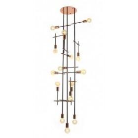 Plafon Moderno Articulado Vertical Com Estrutura Bronze 15 Lâmpadas - Old Artisan