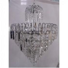 Lustre Clássico de Cristal Transparente com Estrutura em Metal Cromado 7 Lâmpadas - Frontier