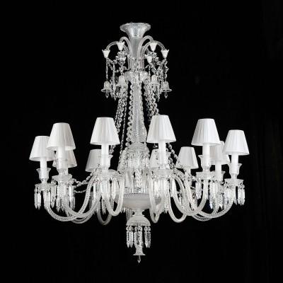 Lustre de Cristal Transparente Gallery Modelo Baccarat com Cupula Branca 8 Lampadas - Bella