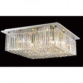 Plafon Quadrado de Cristal Transparente Estrutura de Aço Cromado 8Lâmpadas +Luz Iluminição