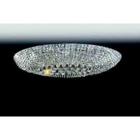 Plafon Moderno de Cristal Transparente e estrutura Oval de Aço Cromado 14 Lâmpadas - Old Artisan