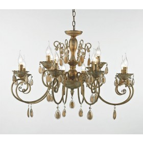 Lustre Lancaster Metal e Cristal Dourado com Branco Jateado 12 Braços -Tupiara