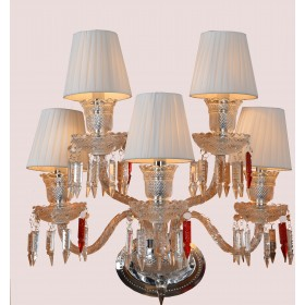 Arandela Candelabro de Cristal Baccarat 5 Lâmpadas Branca com Cúpula