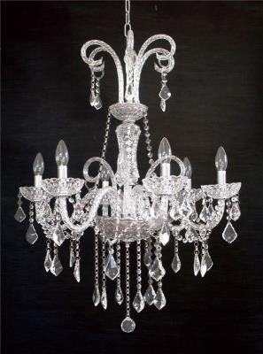 Lustre de Cristal com Detalhes em Prata 6 Lâmpadas - Frontier