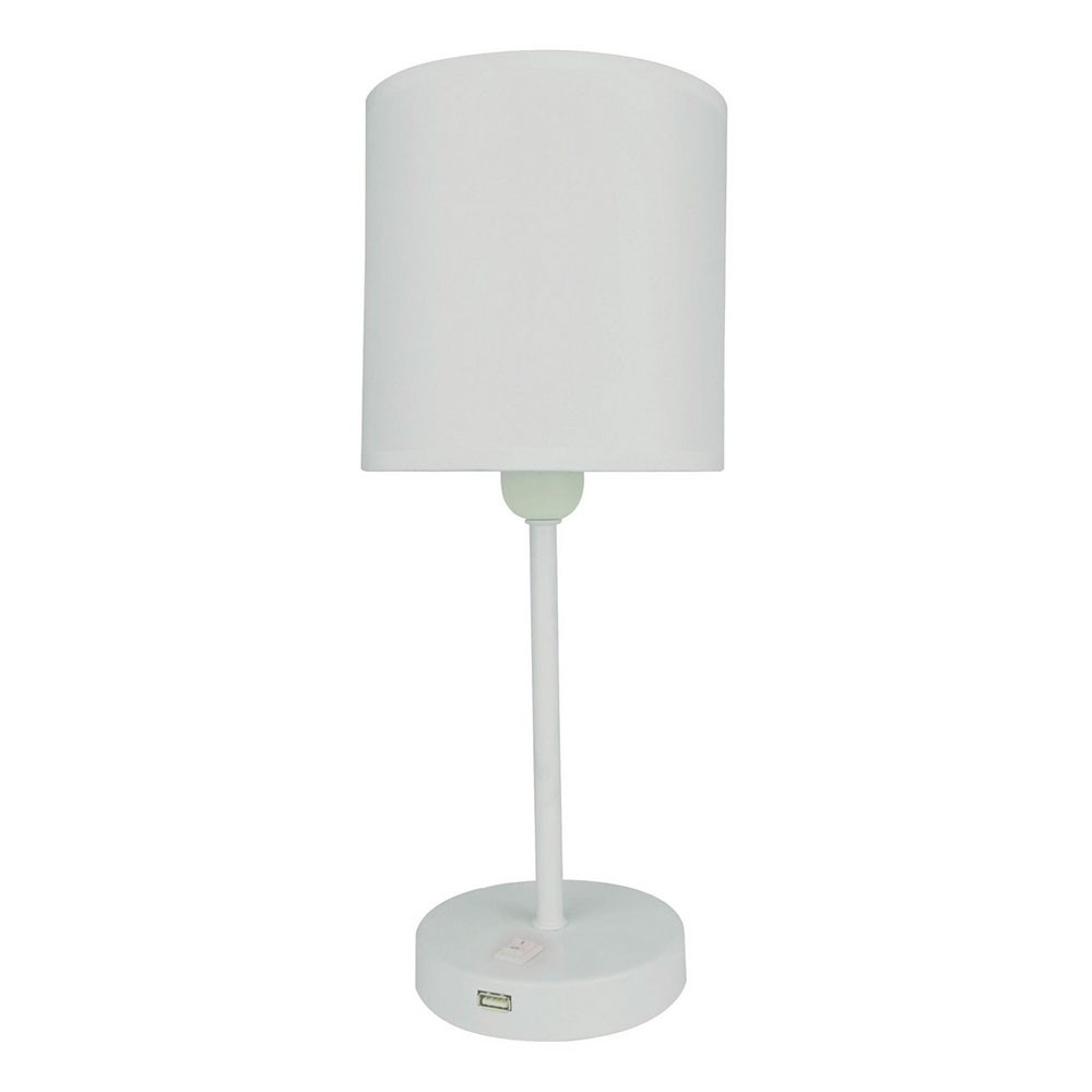 Abajur de Metal com Cúpula de Tecido 1 Lâmpada Branco - Premier