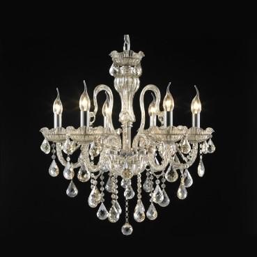 Lustre de Aço Cromado de Vidro e Cristal Conhaque 6 Lâmpadas +Luz Iluminação