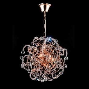 Pendente Redondo em Aço e Cristal Ouro Rosê 9 Lâmpadas - Itamonte