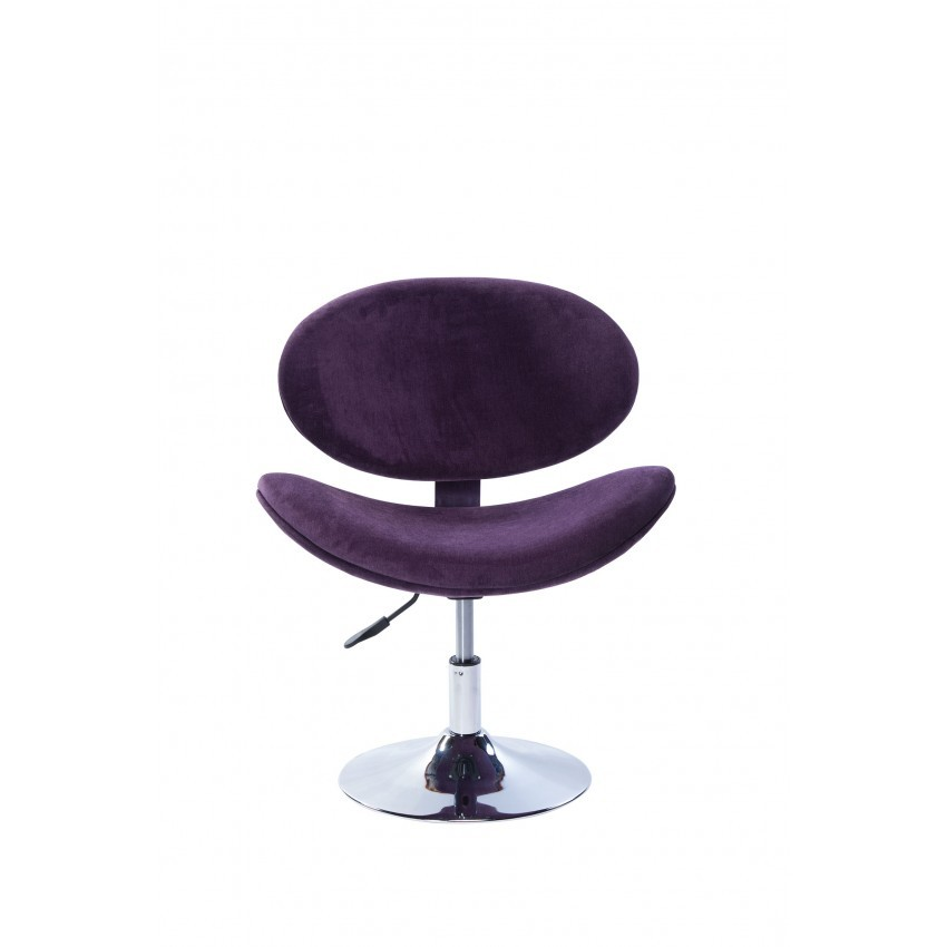 Cadeira Decorativa Bela Giratória com Base Disco Cromada Roxa