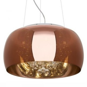 Pendente Moderno com Cúpula de Vidro Espelhado Bronze e Cristal Transparente 5 Lampadas - JLR