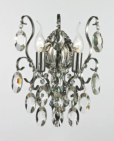Arandela Bemmel Metal Cromada com Cristais Transparentes 2 lampadas -Tupiara