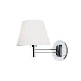 Arandela Maison com Cúpula de Tecido Branco com Base Cromada 1 Lampada - Bella