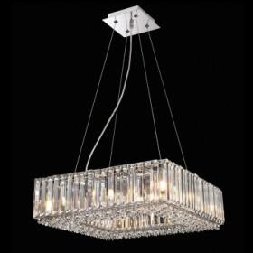 Pendente de Aço Cromado de Cristal 8 Lâmpadas +Luz Iluminação