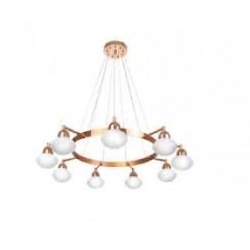 Pendente Moderno Cúpula de Vidro Branco Leitoso e Estrutura Bronze 9 Lâmpadas - Old Artisan