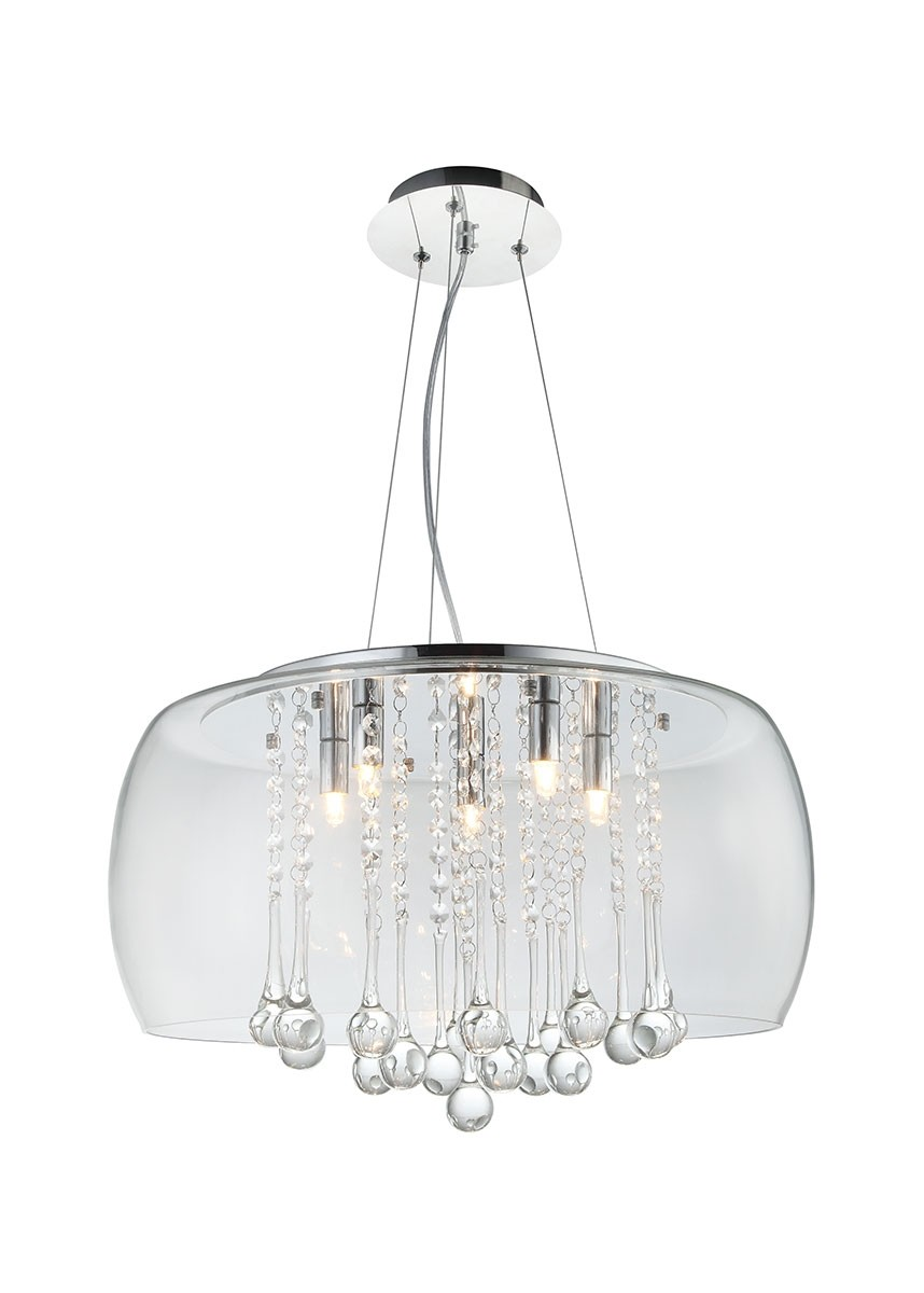 Pendente com Cúpula de Vidro Transparente e Cristal Transparente BL ll