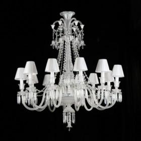 Lustre de Cristal Transparente Gallery Modelo Baccarat com Cupula Branca 12 Lampadas - Bella