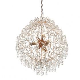 Pendente Pear de Aço Ouro Rosé e Cristais 12 Lâmpadas +Luz Iluminação