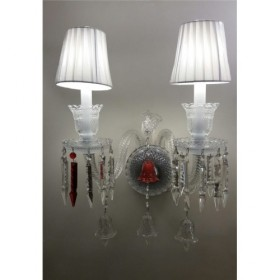 Arandela Candelabro Baccarat Transparente com Cúpula Branca 2 Lâmpadas - Frontier
