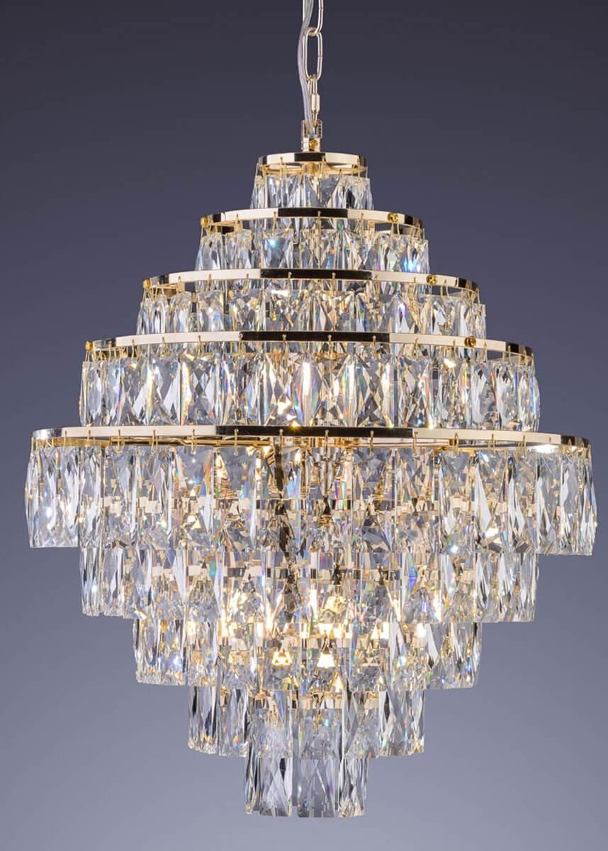 Lustre de Cristal Florença Belle 9 Lâmpadas Dourado - Startec